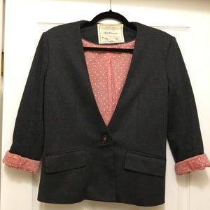 Anthro Cartonnier Collarless Blazer Pink Lining M